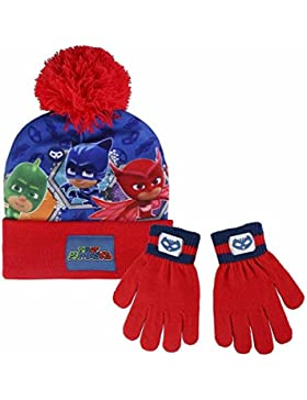 Cerdá Pj Masks, Set de Bufanda, Gorro y Guantes para Niños, Rojo (Rojo 001), One Size (Tamaño del fabricante:única)