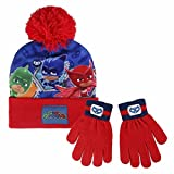 PJ Masks Super Pigiamini 2200-2562 Set 2 Pezzi, Coordinati Invernali, Cappello Pompon, Guanti, BambinI, Multicolore, Gattoboy, Gufetta, Geco