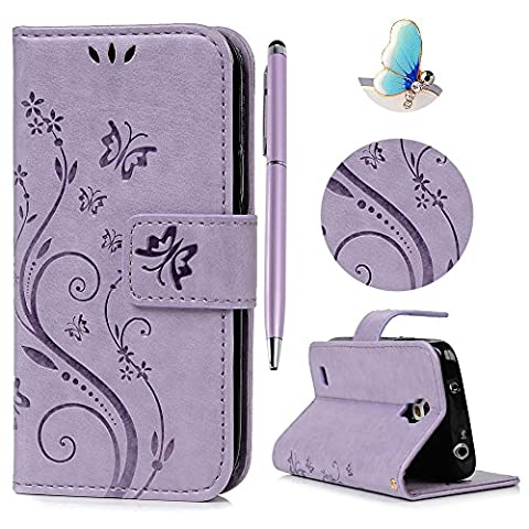 S4 Mini Wallet Flip Multipurpose Case, Lanveni Butterfly Flowers Embossed Retro Premium PU Leather Magnetic Closure With Detachable Hand Strap & Card Slots & Stand Function + 1 x Dust Plug + 1 x Stylus Pen For Samsung Galaxy S4 Mini GT-i9190 GT-i9192 GT-i9195 ( Not For Galaxy S4 ) - Purple