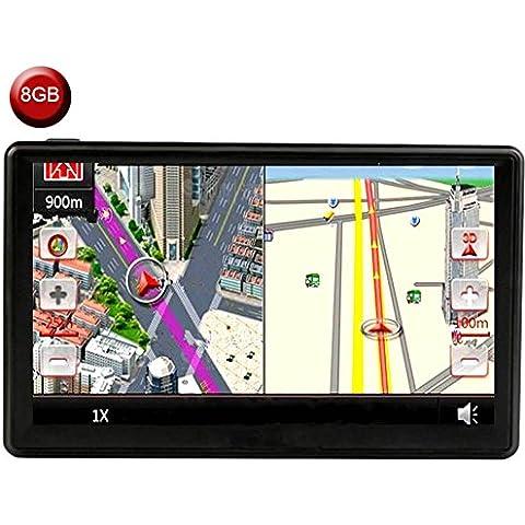 Coche GPS Navegación 7 Pulgadas LCD Tocar Pantalla alto Definición Impermeable alto Precisión SAT NAV Sistema 800MHZ FM MP3/MP4 Múltiples Funciones Medios de Comunicación Jugador Para Todos Vehículo GPS, Gratis Toda la vida Reino Unido y Europa Mapa Actualizaciones (8 GB)