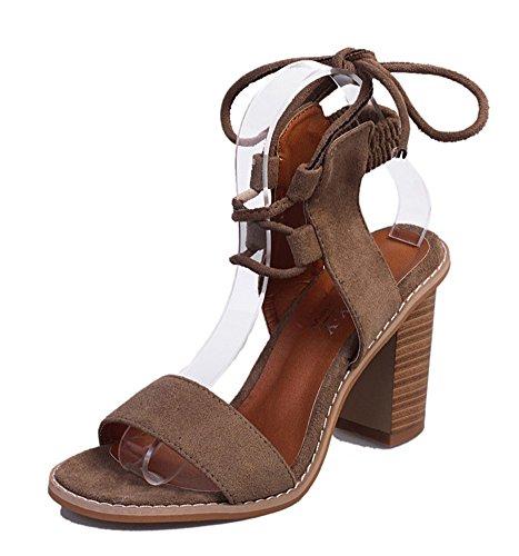 Minetom Damen Sommer Elegante Knöchelriemchen Sandalen Bequeme Hoch Absatz Lace Up Peep Toe Plattform Schuhe Sandals Leichte Bräune EU 36 (Sandal Strappy Lace Up)