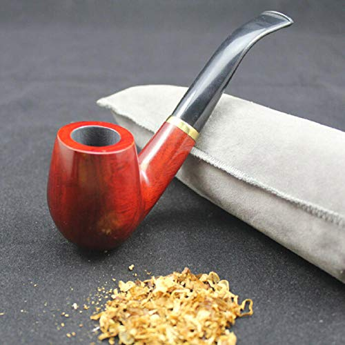WaiGuoRen Pfeife Tabakpfeifen 16 Werkzeuge Klassische Handgemachte Rote Holz Goldene Ring Pfeife Set Rosenholz Tabak Holzpfeifen 9mm Filter + Beutel + Halter F3,
