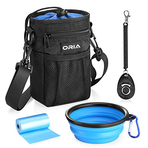 ORIA Dog Treats Bag, Dog Treat Training Pouch with Poop Waste Bag Dispenser, Training Clicker and Collapsible Travel Pet Bowl, Adjustable Belt, Waterproof and Wearable