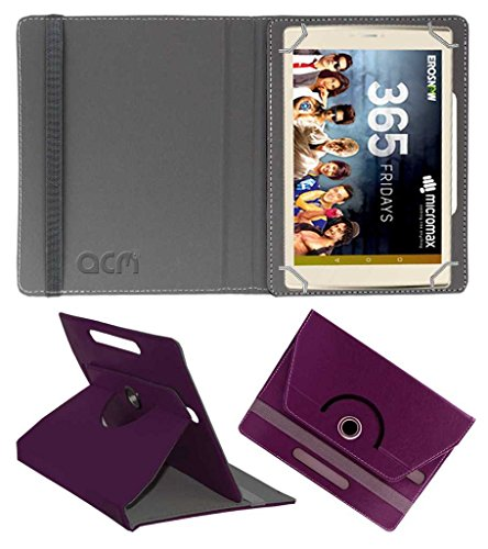 Acm Rotating Leather Flip Case for Micromax Canvas Plex Tab Tablet Cover Stand Purple