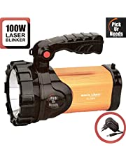 Pick Ur Needs™ Rocklight Metal 100w Rechargeable Waterproof Bright Led Torch Light Laser Long Range Distance High Power Search Light Kisan Rechargable Emergency Lights(Multi-Color)