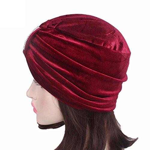 Cappello da Donna Boho Cancer,Yanhoo Berretto a Cuffia con Visiera a Turbante Rosso