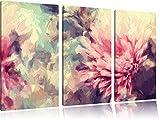 Romantische Blumen Pinsel Effekt 3-Teiler Leinwandbild 120x80 Bild auf Leinwand, XXL riesige Bilder fertig gerahmt mit Keilrahmen, Kunstdruck auf Wandbild mit Rahmen, gänstiger als Gemälde oder Ölbild, kein Poster oder Plakat