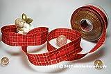 Christa Bänder Weihnachtsband Weihnachtskaro Rot mit Draht 40mm