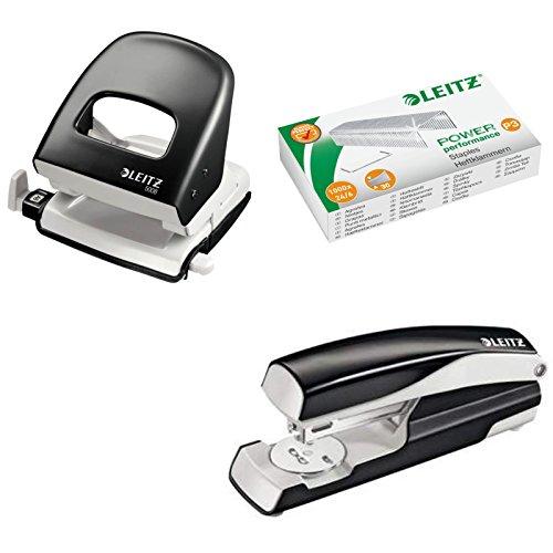 Leitz 5008 NeXXt Series Bürolocher, Metall, bis zu 30 Blatt / Kombi-Set mit Heftgerät + 1000 Klammern extra (schwarz)