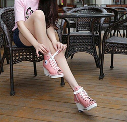 Wealsex Basket Montante Compensées Femme Bout Ouvert Chaussure Toile Plateforme Grande Taille 40 41 42 43 Rose