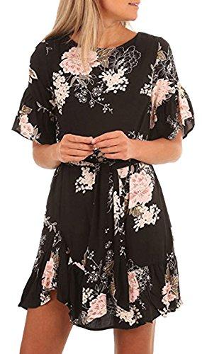 ALAIX Vestito da donna Abito Lady's Boho Abiti con stampa floreale maniche corte orlo arricciato Mini abito casual per le donne Nero-L