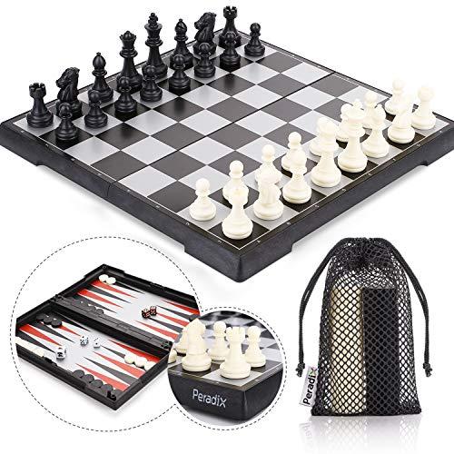 Peradix Tablero Ajedrez Magnetico, 3 EN 1 Ajedrez y Damas Backgammon en...