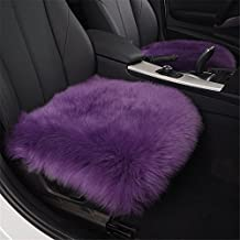 "Fouriding 18"" Genuine Australian Sheepskin Seat Covers Pad Car Cushion Super Soft Thick Natural Wool Seat Non Slip Backing Universal Fit for Car, Plane, Office, Home, Travel (Pack of 2, Purple)"