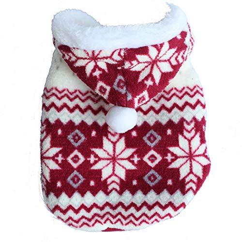 PZSSXDZW Hochwertige Schneeflocke Zweifarbiger Baumwollmantel Hundebekleidung Pet Kleidung Hundekostüm Kleidung für Hunde Red X-Small