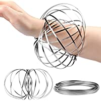 Guilty Gadgets ® Viral Toy of the Year 2018 - Kinetic Spiral Spring Arm 3D Ring Swirls and Flow on any Object - Helps Kids Childrens and Adults with ADHD Fidget - Ultimate Gift Prank Joke Toy - By