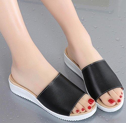 Frau Lederpantoffeln Sandalen flache Sandalen und Pantoffeln Wort Black