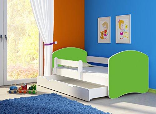 *Jugendbett Kinderbett mit einer Schublade mit Rausfallschutz und Matratze Weiß ACMA II 140 160 180 (180×80 cm + Schublade, Weiß – Grün)*