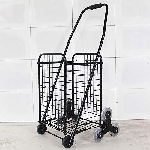 LNYJ Tellerwagen kaufen Tragbarer zusammenklappbarer Einkaufswagen Kleiner Einkaufswagen Aufsteigen auf den Einkaufswagen Gepäckwagen Alterungsanhänger Multifunktions-Dreiecksrad (Farbe : Schwarz)