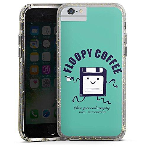 Apple iPhone X Bumper Hülle Bumper Case Glitzer Hülle Floppy Disc Coffee Kaffee Bumper Case Glitzer gold