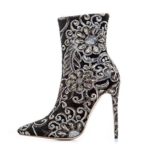 NVXUEZIX Frauen Winter Warme Schuhe Wildleder Druckmuster Stickerei High Heels Slouch Stiefel Spitz-lässig Stil Schwarz, 37 -