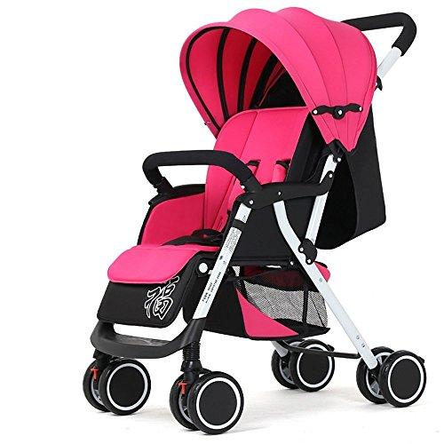 DACHUI Sie reiten können, hinlegen, klappbare Kinderwagen, vierrädrige Schock Baby Kinderwagen, Baby Katze, Baby Stroller (Farbe: Rosa)