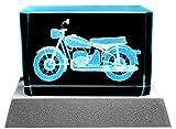 Kaltner Präsente Stimmungslicht – EIN ganz besonderes Geschenk: LED Kerze/Kristall Glasblock / 3D-Laser-Gravur Motiv Bike Motorrad