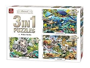 King International 55874 Rompecabezas 3 en 1 - 2 x 1000 y 1 x 500 Piezas - Animal World - Incluyendo Carteles, Multi