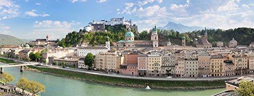 Panoramic Images – Old town with Hohensalzburg Castle Dom Cathedral and Salzburg Residenz Salzburg Salzburger Land Austria Photo Print (20,32 x 25,40 cm) (Hohensalzburg Castle)