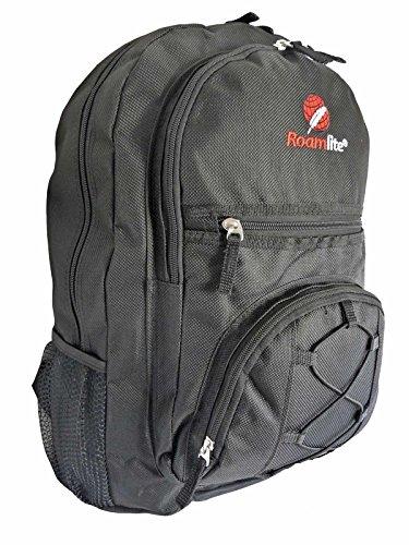 Medium Rucksack Schule (Rucksäcke für Schule - Kinder Rucksack mehrere Taschen - Jungen Mädchen Medium Größe Taschen - A4 Ordner Rucksack - 0,5 kg - 25 Liter Kapazität - 46 cm x 33 x 20 rl37 m, schwarz (Schwarz) - RL37K)