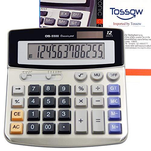 TOSSOW Office Elektronischer Tischrechner Solar und Akku Dual Power Tischrechner mit 12-stelligem Display-Grundrechner