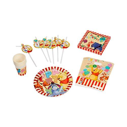 baby-walz Le lot d'articles de fête Standard Winnie l'ourson pour 6 Personnes Anniversaire Enfant, Multicolore