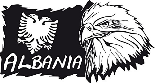 Graz Design 630234_57_070 Wandtattoo Wand Aufkleber Design Deko Wohnzimmer Albanien Albania Welt Adler Wappen Flagge Lnder 106x57cm Schwarz -