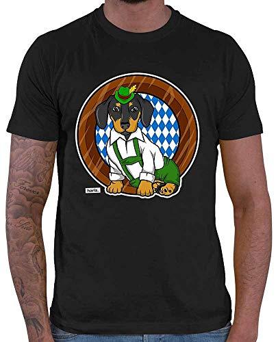 Hunde Kostüm Bier - HARIZ Herren T-Shirt Bayrischer Hund Oktoberfest Tracht Party Plus Geschenkkarte Schwarz XL