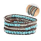 Tenflyer Turquoise Pierre Naturelle Tissage Cire Cord Wrap Bracelet Wrap Bracelet Unisexe Bracelet en perles