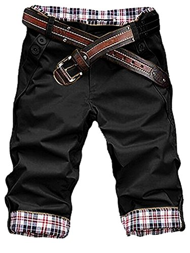 HEMOON Men's Stylish Plaid Pleated Pockets Casual Shorts Pants Trousers (WITHOUT BELT)