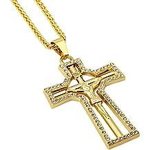 Hiphop 18K chapado en oro Hombre Cruz Jesús Colgante con Diamantes de imitación collar joyas