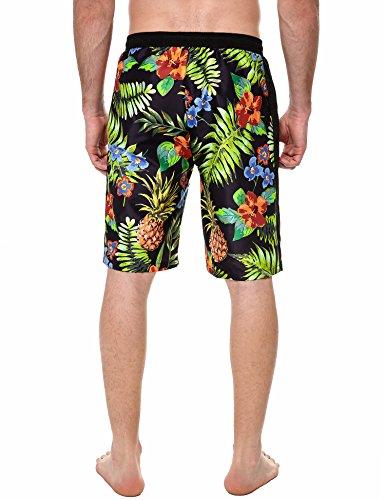 COOFANDY Herren Shorts Sommer Freizeit Hose Urlaub Hawaii Badeshorts Strandmode Schwarz und Grün
