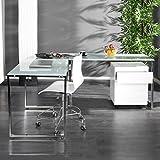 CAGÜ Design Schreibtisch ECKSCHREIBTISCH [Manhattan] Weiss aus Glas & Chrom 180cm x 160cm, Neu!