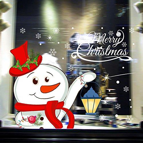 About1988 Weihnachten Aufkleber Weihnachtsmann Schneemann Schneeflocken Fensterbild Fensterbilder Weihnachten Selbstklebend, Fensteraufkleber PVC Fensterbilder, Weihnachten Fenstersticker (72 x 52cm)