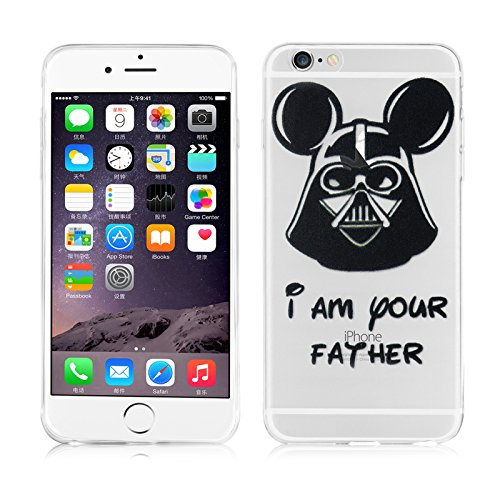 "iPhone 6 Hülle, JAMMYLIZARD Transparentes Sketch Back Cover aus Silikon mit Muster für iPhone 6 / 6s 4.7"", SILHOUETTE 1 Micky Vader"