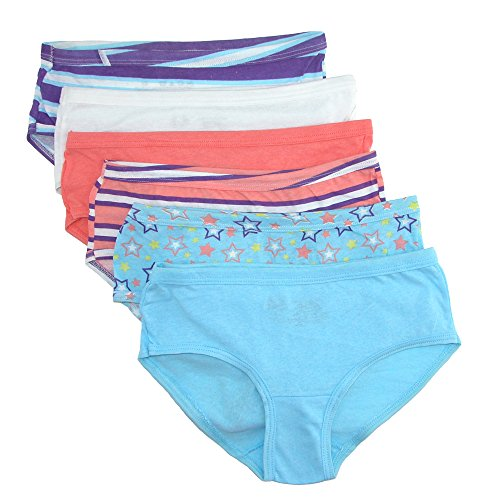 Fruit of the Loom Girl's Cotton Hipster Underwear (Pack of 6)