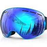 Benice, occhiali da sci, protezione UV professionale, con lenti staccabili e ampio obiettivo anti-appannamento, per uomo donna adulti, Adult Blue, Adulto