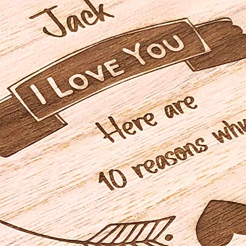Personalised Gift for Him 10 Reasons why I Love You Wooden Box and Hearts