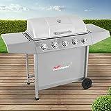 broil-master BBQ Gasgrill | Edelstahl Deckel, Grillstation mit 5 Brenner | Grillfläche 70 x 35,5 cm | Farbe: Silber