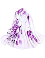 Sanwood Damen Blume gedruckt Schal Winterschal Tuch Halstuch Scarf