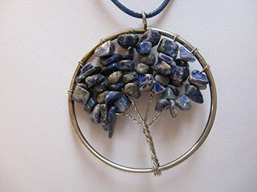 Natural Mente - Lebensbaum, Baum des Lebens, Anhänger für Halskette, Amulett, inkl. Stoffband, Splitter, Edelstein, Lapislazuli,Nr.6