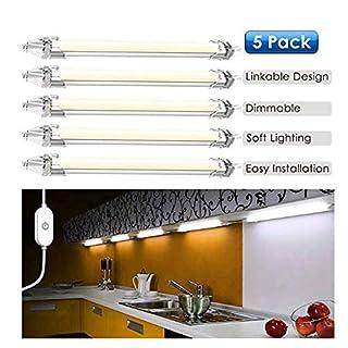 Led Lichtleiste Küche, LED Unterbauleuchte Schrankleuchte 5 Stück LED Schrankbeleuchtung mit Stecker für Küche mit Berührungsschalter, Verbindungskabel und Verlängerungskabel [Energieklasse A+++]
