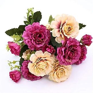 ForceSthrength Ramo de Flores Artificiales caída Vivid Peonía Hoja Falsa decoración de la Boda Rosa roja
