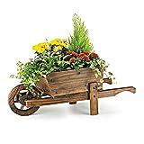 Homezone® Garten Mile® 70cm Schubkarre aus rustikalem Holz Ornament Garten-Übertopf im Blumentopf Garten Ornament