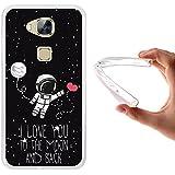 WoowCase - Funda Gel Flexible [ Huawei GX8 / G8 ] Astronauta Corazón - I Love To the Moon And Back Carcasa Case Silicona TPU Suave